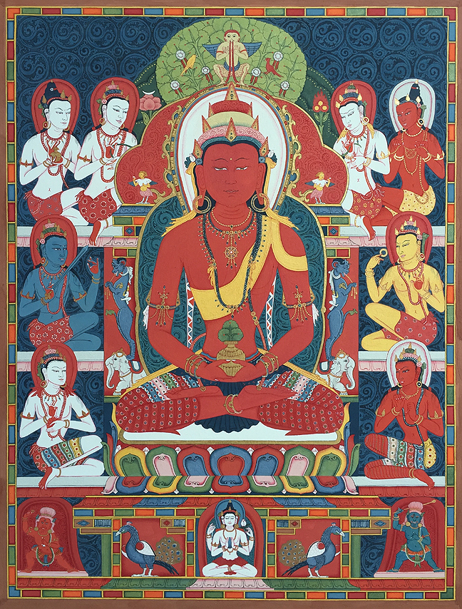 Buddha Amitayus Thangka - Fine Art Thangka Reproduction - by Flera Birmane