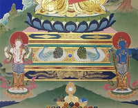 Amitabha Buddha Thangka with Chenrezig and Vajrapani
