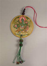 Green Tara Deity Amulet with Vajra Knotwork - Mantra on Reverse