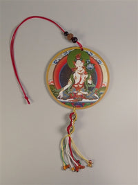 White Tara Deity Amulet with Vajra Knotwork - Mantra on Reverse