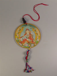 Guru Rinpoche Amulet with Vajra Knotwork - Mantra on Reverse