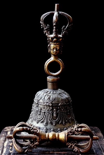 Antique Sino-Tibetan Five Prong Bell & Vajra Set  - 19th C - Kirtimukha/Makara Design
