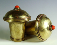 Pair of Brass Thangka Finials