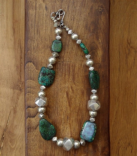 Antique Turquoise & Hilltribe Silver Necklace