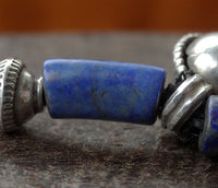 Ancient Lapis Lazuli and Antique Silver Necklace - 17 inches