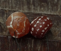 Two Ancient Decorated Carnelian Beads
