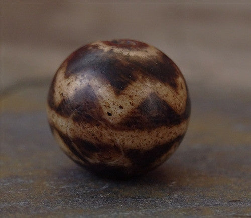 Ancient Double Lotus Pumtek Stone Bead - 13 mm
