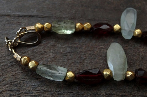 Vintage Beryl & Garnet Necklace with Antique Indian Gold Spacers