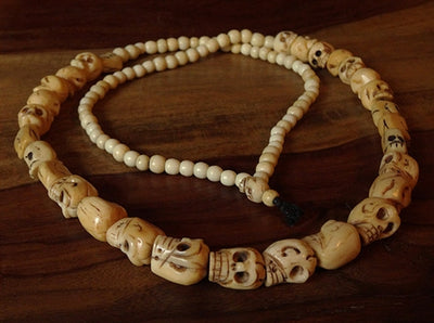 Rare Bone Skull Bead Necklace - 19th to Mid 20th C