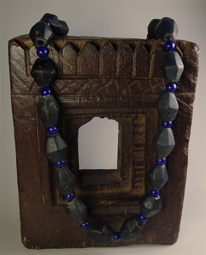 Large Ancient Blue Ban Chiang Glass Beads & Lapis Lazuli Necklace