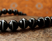 Rare Single Stripe Banded Agate dZi Mala - 8 mm