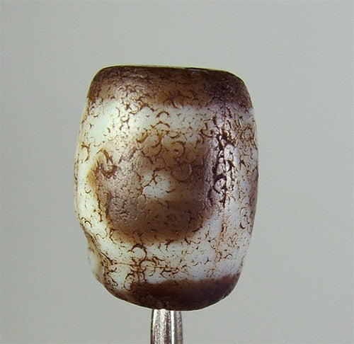 Ancient Barrel Shaped dZi Bead - 3 eyes