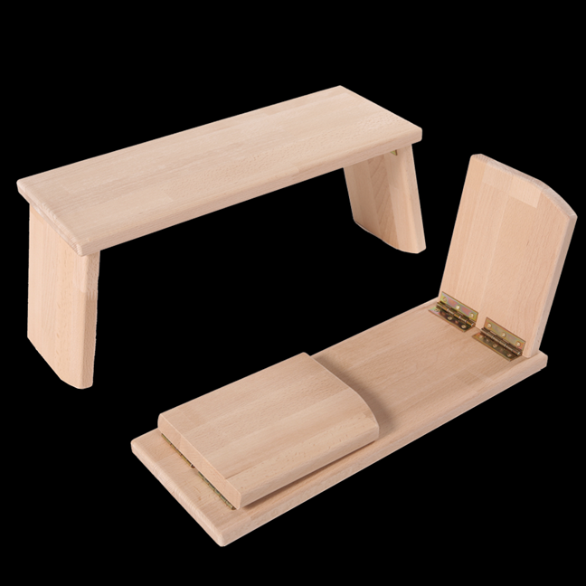 Natural Beech Wood Meditation Bench - Folding Legs
