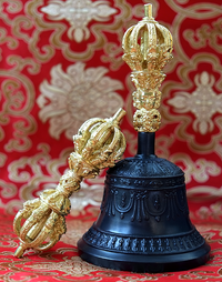 Kirtimukha Dehradhun Bell & Dorje Set - Master Quality 9 Prong Vajra & Handle - Dark Finish