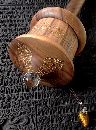 The Guru Padmasambhava Wooden Prayer Wheel ~ Natural Walnut Wood
