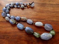 Rare Ancient Blue Chalcedony Necklace with Emerald & Suleimani Agates