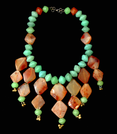 Antique Red Carnelian & Venetian Aqua Green Glass Vaseline Necklace