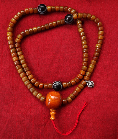 Fine Quality Bone Mala with dZi dividers (Antique Style)