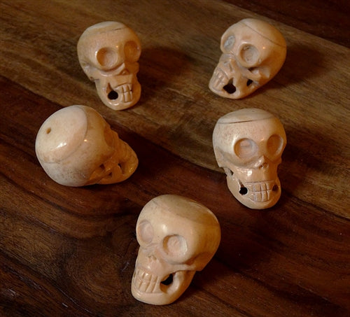 Large Hand Carved Bone Skull Bead - 40mm