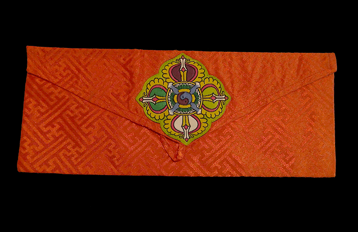 Double Vajra Brocade Prayer Text or Pecha Cover - Orange