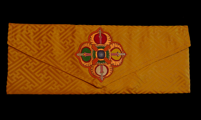 Double Vajra Brocade Prayer Text or Pecha Cover - Golden Yellow