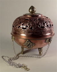 Traditional Tibetan Sang Burner - Copper & Brass - 5 inches