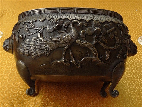 Antique Peacock and Pheonix Chinese Incense Burner or Censer - 19th C
