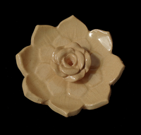 Lotus Flower Incense Holder - Fairtrade Nepal - Ceramic - Natural