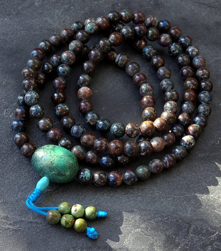 Chrysocolla Mala with Large Turquoise Guru Bead - 8mm