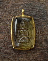 Fine Quality Hand Carved Golden Citrine Ratnasambhava with 22 Kt Gold Frame