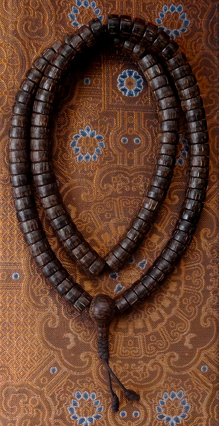 Natural Disc Shaped Coconut Shell Mala  - 12 mm x 6 mm