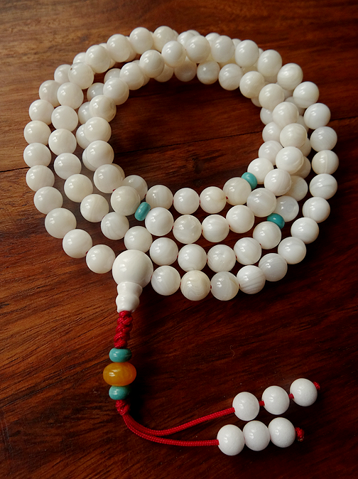 Fine Quality Conch Shell Mala - 8mm
