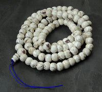 Extra Large Natural Conch Shell Mala with inlay - 15mm