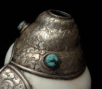 Rare Quality Ritual Conch Shell Trumpet ornamented with silver, turquoise & coral