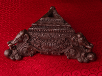 Dark Copper Phurba Stand with Elephant & Lotus Design