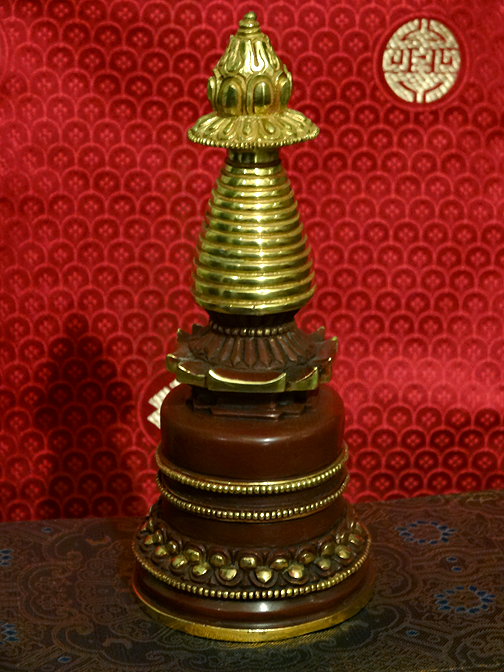 Fine Quality Gilded Copper Stupa - 7.25 inches
