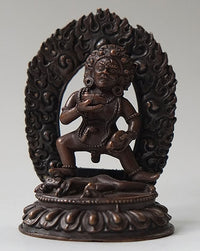 Small Copper Black Dzambhala Statue - 3.2 inches