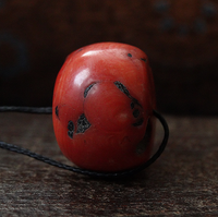 Antique Red Coral Bead ~ 21 mm