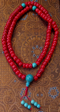 Coral Mala with Turquoise Dividers - 9mm Diameter