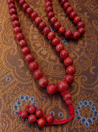 Red Coral Mala with beaded tassle - 8mm