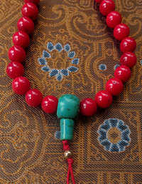 Coral Mala with Turquoise Guru Bead - 8mm