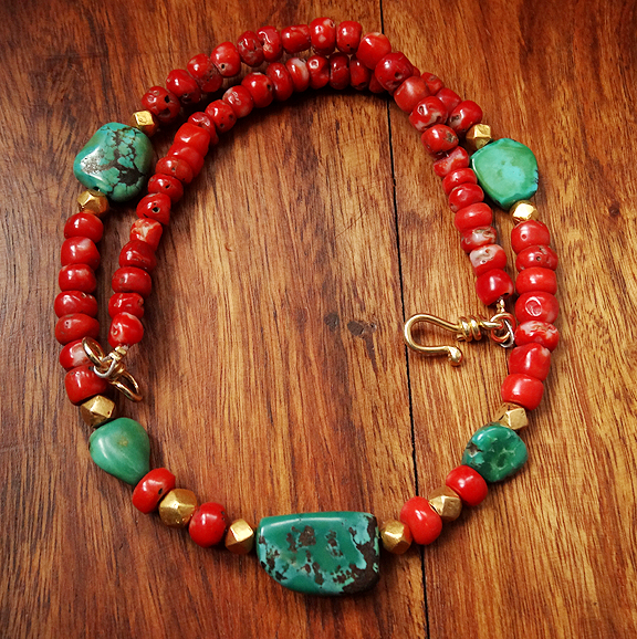 Antique Tibetan Natural Red Coral & Tuquoise Necklace - 20 inches