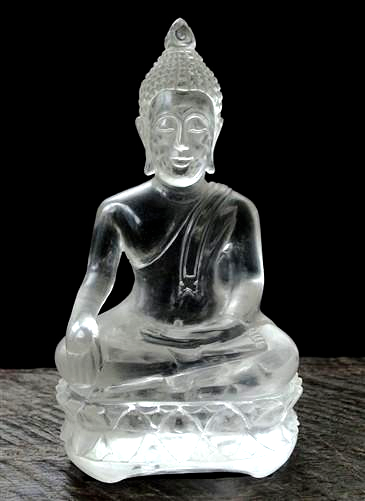 Hand Carved Rock Crystal Buddha Statue - 5.1 inches