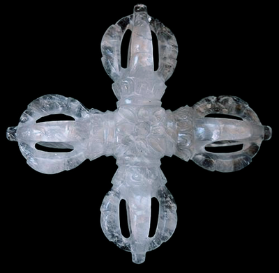 Extra Large Himalayan Crystal Double Vajra - 7.5 inches