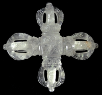 Extra Large Himalayan Crystal Double Vajra - 6.5 inches