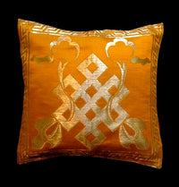 Endless Knot Cushion Cover - Golden Yellow Brocade