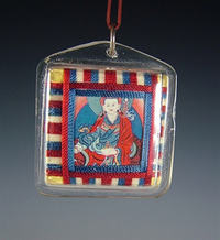 Tibetan Deity Amulet with Woven Thread