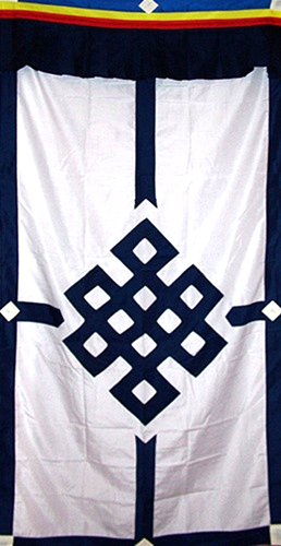Tibetan Eternal Knot Door Curtain - Blue