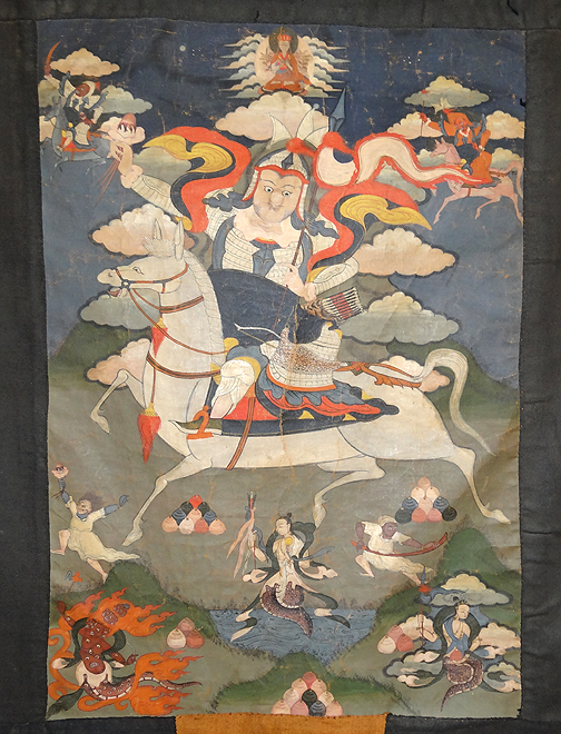 Antique Tibetan Drala Thangka - 19th C