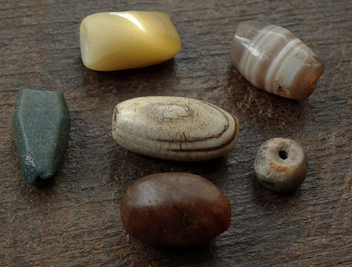 6 x Ancient Stone Beads - Western Asiatic and Nepal
